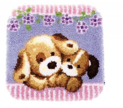 Cuddling Dogs Latch Hook Rug by Vervaco