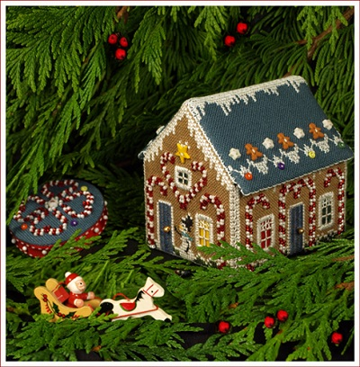 Gingerbread Candy Cane Cottage by The Victoria Sampler