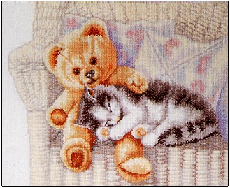 Teddy bear and kitten by Permin