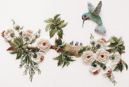 English Rose and Hummingbirds Embroidery Kit by EdMar