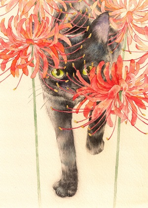 Amaryllis and Black cat-printed panel
