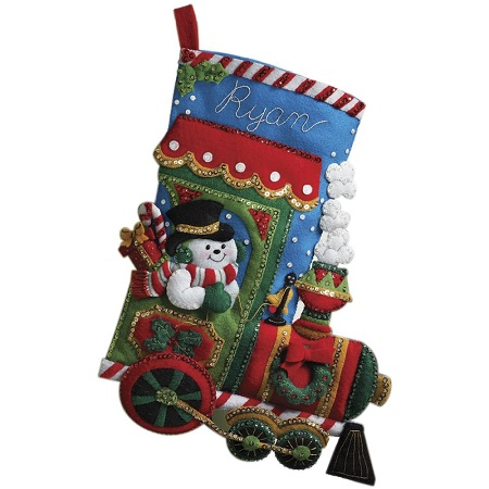 Candy express stocking by Bucilla
