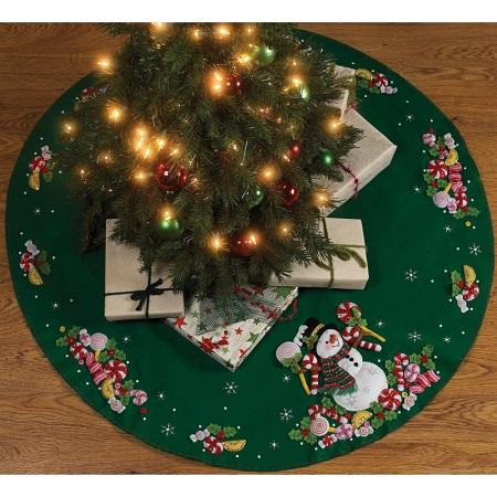 Candy snowman tree skirt by Bucilla