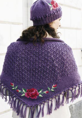 Shawl with Cross Stitch Rose - Purple