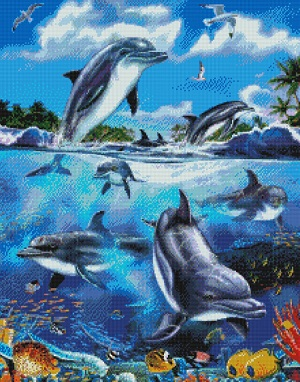 Dolphins at Play-9991-  by Kustom Krafts