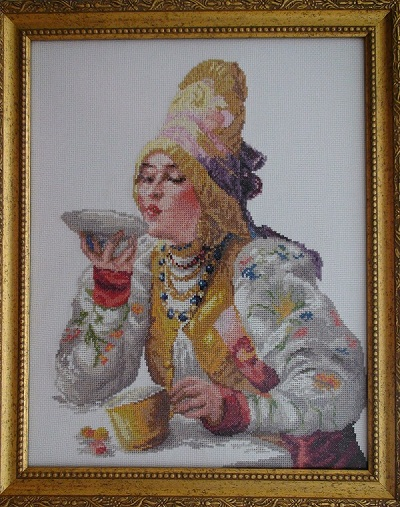 Russian Woman with Tea- Ready Art Design