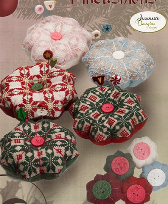 Christmas quaker pincushions by Jeanette Douglas Designs