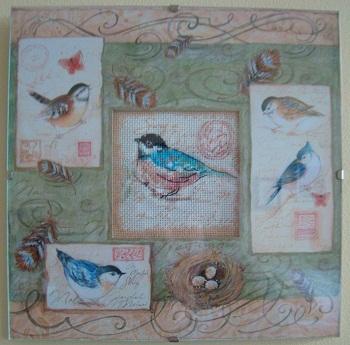 Birds and Swirls- stitched design