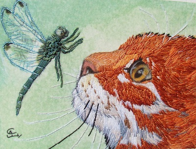 Cat with dragonfly embroidery kit by Madame Needle