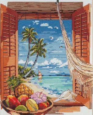Tropical Vacation Window by Janlynn