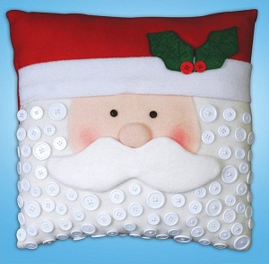 Santa button pillow by Design Works