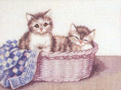 Two kittens in basket by Permin