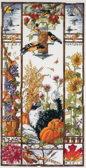 Autumn cat sampler by Janlynn