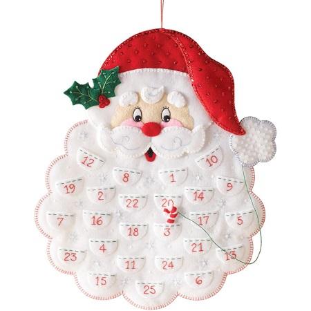 Santa's bear advent calendar by Bucilla