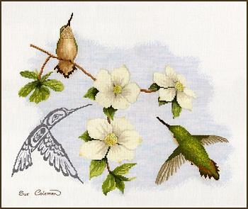 Dogwood and Hummingbird by Stitching Studio