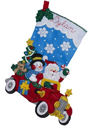 Holiday drive stocking by Bucilla