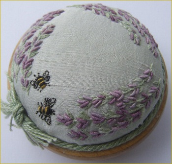 Lavender and bees pincusion