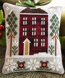 Red house in winter by Little House Needleworks