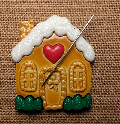 Gingerbread house needle minder by Madame Needle