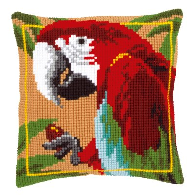 Red macaw pillow,PNV21698,Vervaco