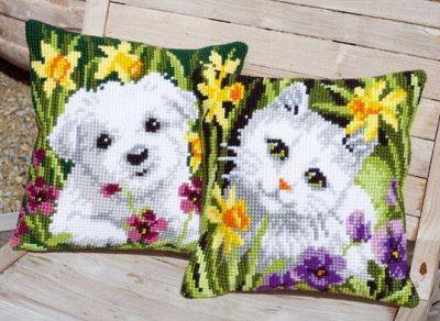 Westie and Kitty in daffodils by Vervaco