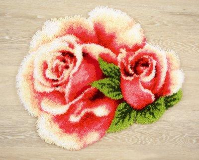 Pink Rose and Rosebud II Rug by Vervaco