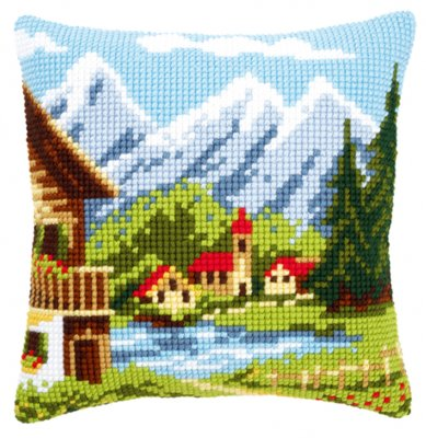 Alpine village pillow,PNV9079,Vervaco