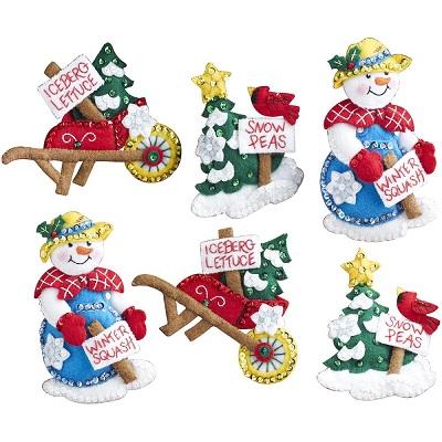 Snow garden ornaments by Bucilla