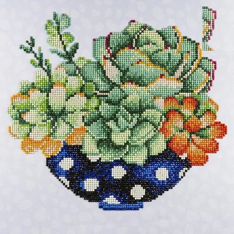 Leisure Arts Diamond Art SUCCULENT PLANT Intermediate Kit 12X12