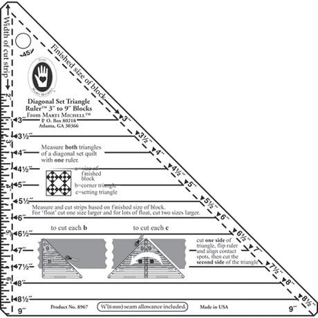 Marti Michell 8967M Small Diagonal Set Triangle Ruler