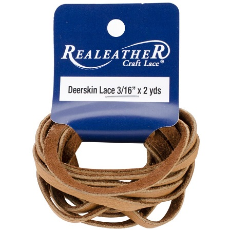 "Saddle Tan Crafts Deerskin Lace .1875""X2yd by Realeather"