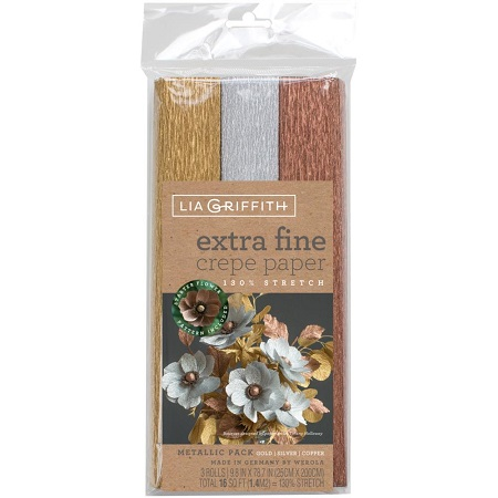 Extra Fine Crepe Paper 3/Pkg METALLIC by Lia Griffith