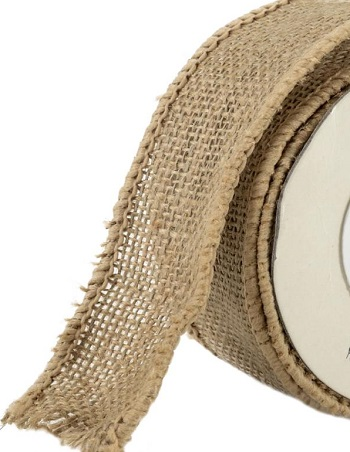 Offray Wired Burlap Ribbon 1-1/2 2 yards cut