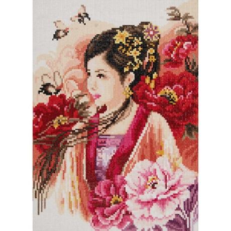 Lanarte Diamond Art Kit ASIAN LADY IN PINK 12X17.25