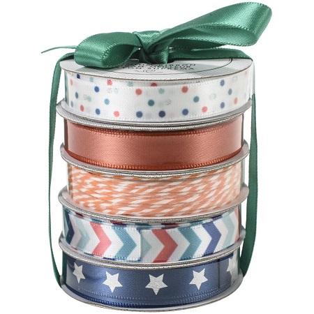 American Crafts Premium Ribbon & Twine 5/Pkg-TEAL PLAIN STAR