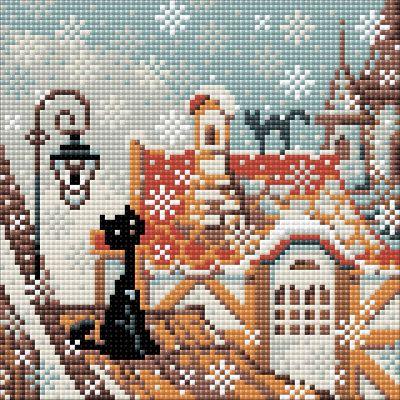 RIOLIS Diamond Mosaic Embroidery Kit City and Cats winter