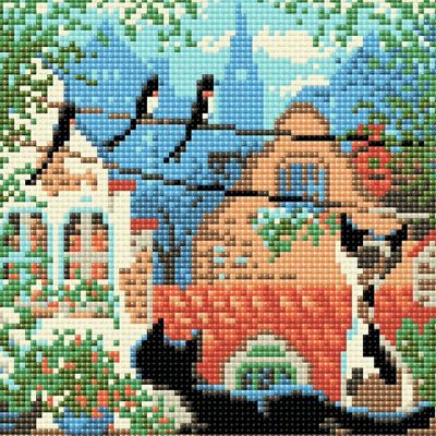 RIOLIS Diamond Mosaic Embroidery Kit City and Cats Summer