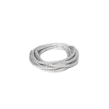 Soft Metallic Tubular Braid 2 coin Silver