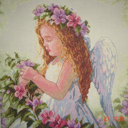 Passion Flower Angel -Stitched design