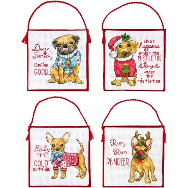 Christmas pups ornaments,70-08972,Dimensions