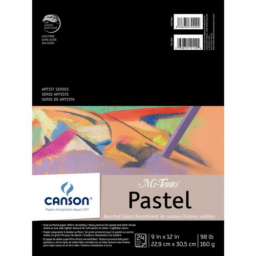 Canson Mi-Teintes Pastels Paper Pad 9X12 Assorted Colors 24 Sheets