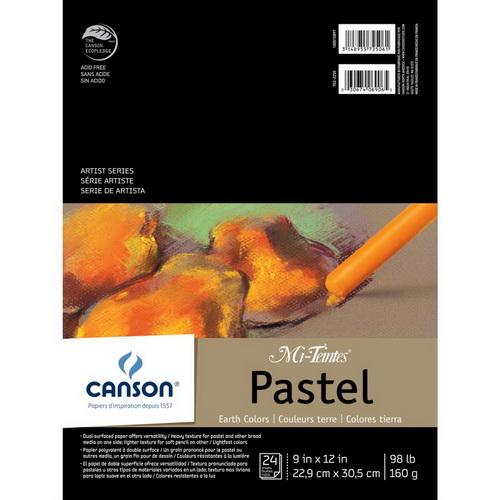 Canson Mi-Teintes Pastels Paper Pad 9X12 Earth Tones 24 Sheets