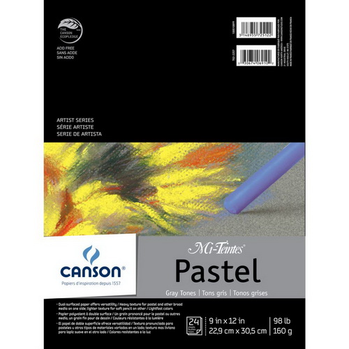 Canson Mi-Teintes Pastels Paper Pad 9X12 Gray Tones 24 Sheets