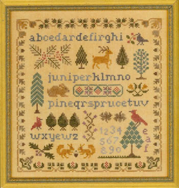 Elizabeth's Designs Needlework Antique Evergreen Sampler