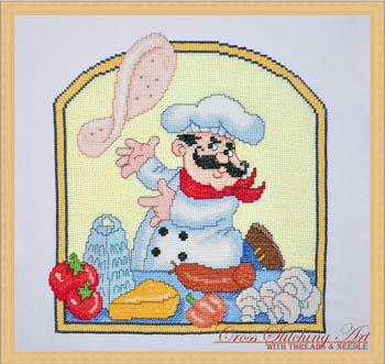 Pizza chef by Cross Stitching Art