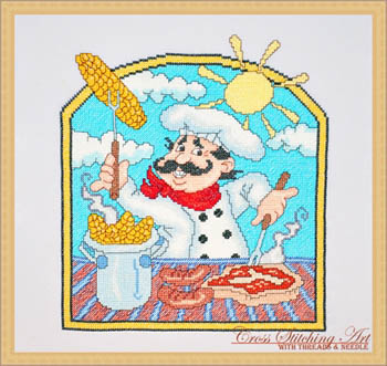 BBQ chef by Cross Stitching Art
