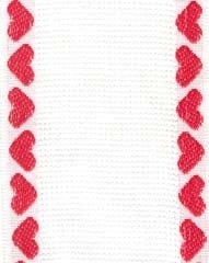BANDING White with Red Heart Border,131230