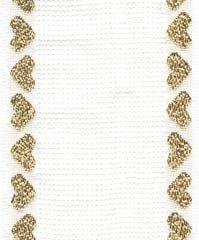 BANDING White with Metallic Gold Heart Border,14CT,131282