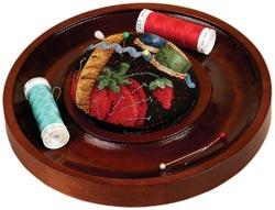 Mahogany Round Pincushion Tray by Sudberry House