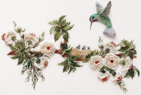EdMar English Rose and Hummingbirds Embroidery Kit